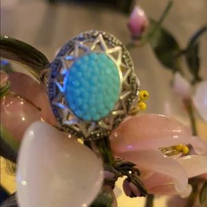 Vintage 925 marcasite turquoise ring